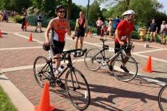 Klaudia with bike at Elkhart Lake Triathlon